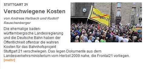 """ZDF frontal21 berichtet heute Abend über verschwiegene Kosten zu """"Stuttgart 21"""""""